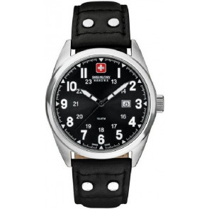 Bracelet de montre Swiss Military Hanowa 06-4181.04.007 Cuir Noir 22mm