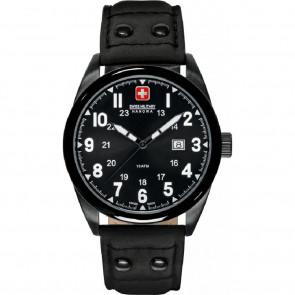 Bracelet de montre Swiss Military Hanowa 06-4181.13.007-Buckle-Studs-Black Cuir Noir 22mm