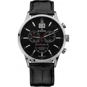 Bracelet de montre Edox 10010-473282-222194 Cuir Noir 21mm