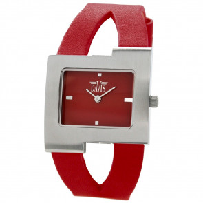Bracelet de montre Davis BB1404 Cuir Rouge 10mm