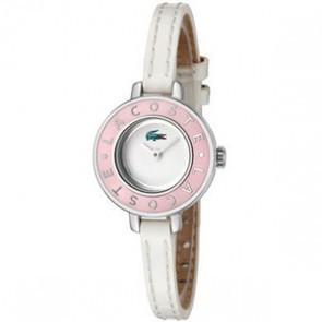 Lacoste bracelet de montre LC-15-3-14-0083 / 2000390 Cuir Blanc 6mm + coutures blanches