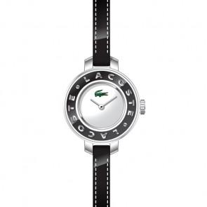 Lacoste bracelet de montre LC-15-3-14-0084 / 2000391 Cuir Noir 6mm + coutures noires
