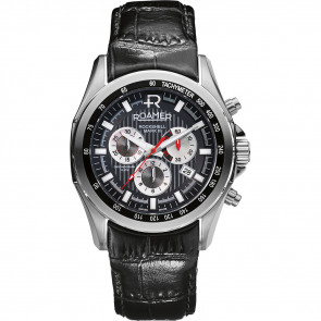 Roamer bracelet de montre 220837-49-25-02 Cuir Noir 22mm + coutures défaut