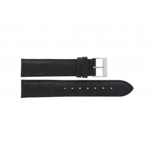 Edox bracelet de montre 27028-2 (Staal) Cuir Noir 17mm + coutures défaut