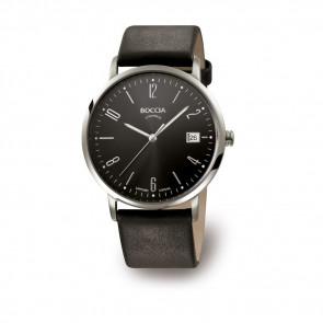 Bracelet de montre Boccia 3557-02 Cuir Noir 21mm