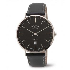 Bracelet de montre Boccia 3589-02 Cuir Noir 20mm