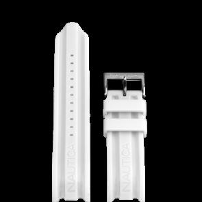 Nautica bracelet de montre A15567G En caoutchouc Blanc 24mm