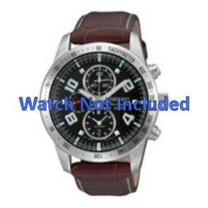 Seiko bracelet de montre 7T62-0HX0 / SNAC11P1 / 4A332JL  Cuir Brun 21mm + coutures blanches
