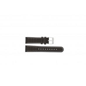Olympic bracelet de montre 89JAL004 Cuir Brun 18mm + coutures blanches