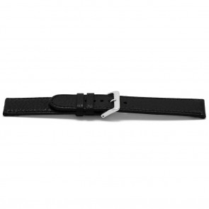 Bracelet de montre B113Z Cuir Noir 10mm + coutures noires