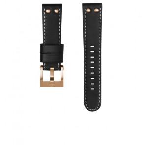 TW Steel bracelet de montre CEB105 / CE105 Cuir Noir 22mm + coutures blanches