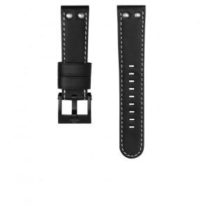TW Steel bracelet de montre CEB107 Cuir Noir 22mm + coutures blanches