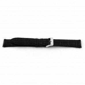 Bracelet de montre EX-D015 Cuir Noir 14mm + coutures noires