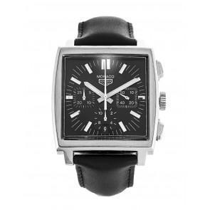 Bracelet de montre Tag Heuer CS2111-BC0787 Cuir Noir 22mm