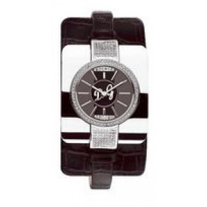 Bracelet de montre Dolce & Gabbana DW0161 Cuir croco Noir 10mm