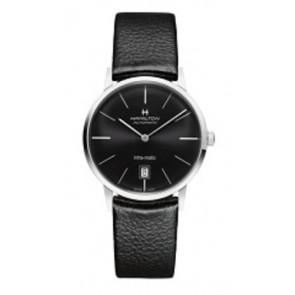 Bracelet de montre Hamilton H384551 / H38455751 / H600384105 Cuir Noir 20mm