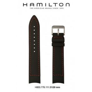 Bracelet de montre Hamilton H776350 / H001.77.635.333.01 Cuir Noir 21mm