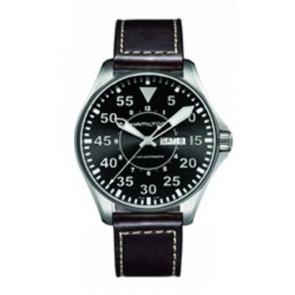 Bracelet de montre Hamilton H64715535 Cuir Brun foncé 22mm