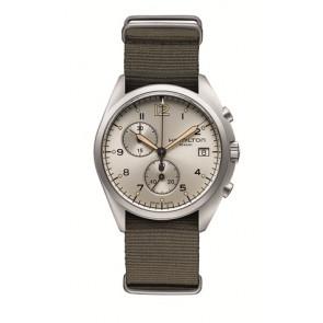 Bracelet de montre Hamilton H76552955 Textile Taupe 22mm