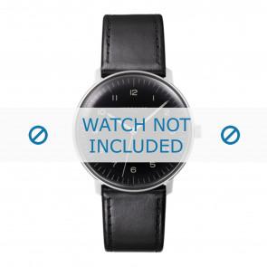 Junghans bracelet de montre 027/3400.00 Cuir Noir 20mm + coutures défaut