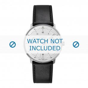 Junghans bracelet de montre 027/4700.00 Cuir Noir 20mm + coutures défaut