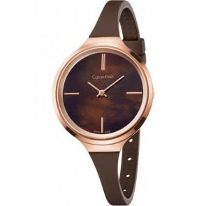 Bracelet de montre Calvin Klein K4U236 Caoutchouc Brun