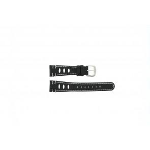 Lorus bracelet de montre 19x14 Cuir Noir 19mm + coutures blanches
