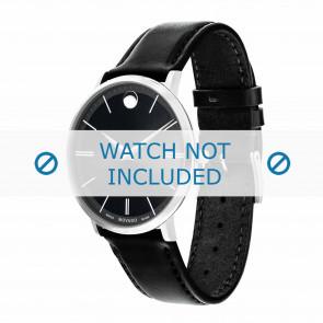 Movado bracelet de montre 0607086 Cuir Noir 20mm + coutures défaut