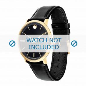 Movado bracelet de montre 0607087 Cuir Noir 20mm + coutures défaut