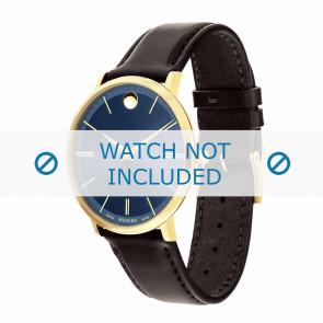 Movado bracelet de montre 0607088 Cuir Brun foncé 20mm + coutures défaut