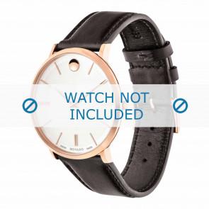 Movado bracelet de montre 0607089 Cuir Brun foncé 20mm + coutures défaut