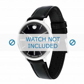 Movado bracelet de montre 0607090 Cuir Noir 16mm + coutures défaut