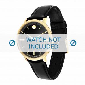 Movado bracelet de montre 0607091 Cuir Noir 16mm + coutures défaut