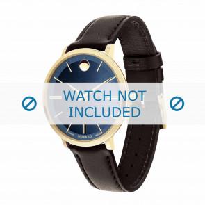 Movado bracelet de montre 0607092 Cuir Brun foncé 16mm + coutures défaut