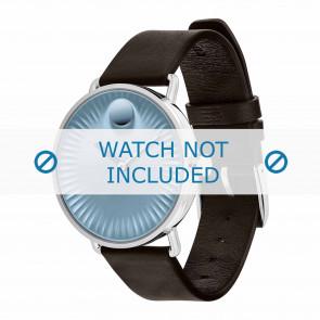 Movado bracelet de montre 3680040 Cuir Brun foncé 20mm