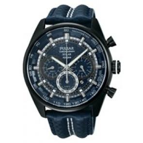 Bracelet de montre Pulsar VS75-X004 / PX5043X1 Cuir Bleu 24mm