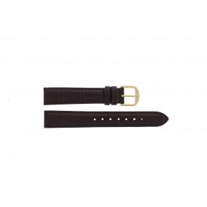 Q&Q bracelet de montre QQ16LDBGD Cuir croco Brun 16mm + coutures brunes