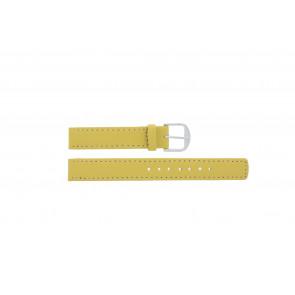Q&Q bracelet de montre QQ14LDYGS Cuir Jaune 14mm + coutures blanches