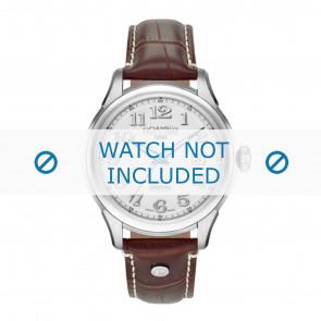 Roamer bracelet de montre 545660-41-16-05 Cuir Brun 18mm + coutures blanches