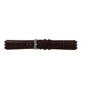 Bracelet de montre pour swatch brun foncé en cuir 17mm 21414