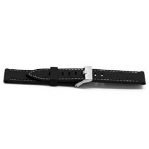 Bracelet de montre En caoutchouc 22mm Noir + coutures blanches EX XH18