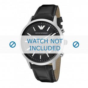 Armani bracelet de montre AR2447 Cuir Noir 22mm + coutures noires