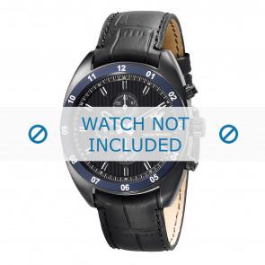 Armani bracelet de montre AR5916 Cuir Noir 22mm + coutures noires