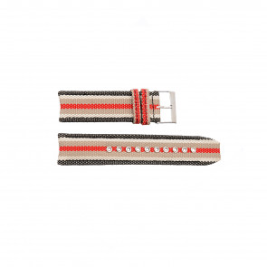 Burberry bracelet de montre BU7601 Cuir Noir 22mm + coutures blanches