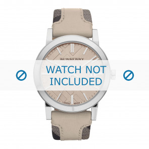 Burberry bracelet de montre BU9021 Cuir Blanc crème / Beige 20mm