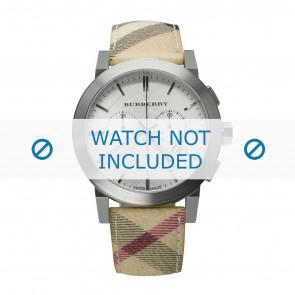 Burberry bracelet de montre BU9360 Cuir Blanc crème / Beige 20mm + coutures blanches