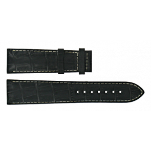 Certina bracelet de montre C610014940 Cuir Noir 21mm + coutures blanches