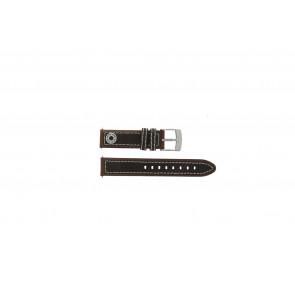 Camel bracelet de montre Active Cuir Brun 18mm + coutures blanches