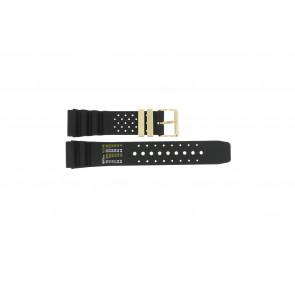 Bracelet de montre Universel CMT-22-DBL Caoutchouc Noir 22mm