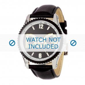 Dolce & Gabbana bracelet de montre DW0707 Cuir Noir 20mm + coutures noires